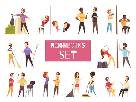 Neighbors cartoon set with friendship and quarrel between adult people living next to each other isolated vector illustration Stock Illustratie