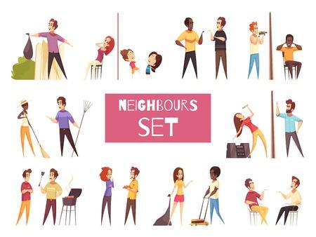 Burenbeeldverhaal met vriendschap en ruzie tussen volwassen mensen wordt geplaatst die naast elkaar leven geïsoleerde vectorillustratie die Stockfoto - 96311752