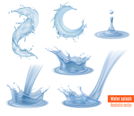 Water splash dynamic realistic images conveying movement mood beautiful elements for your designs set isolated vector illustration