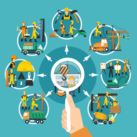 Construction worker round composition with magnifier in a mands hands for detailed selection of works vector illustration