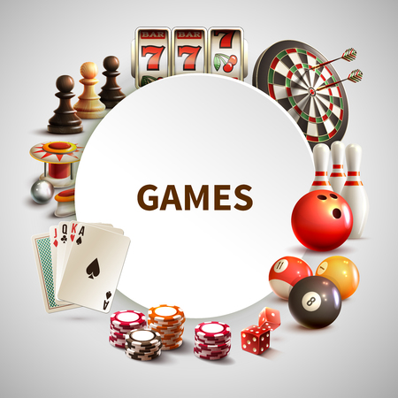 Games realistic round frame with big headline games and different elements around vector illustration