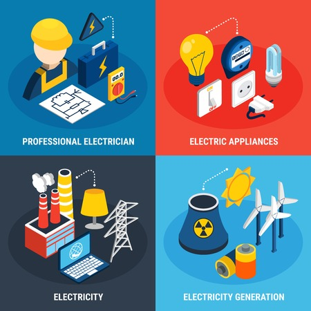 Four electricity isometric 3d icon set with professional electrician electric appliances and electricity generation descriptions vector illustration