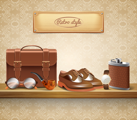 Classic retro style real leather gentleman accessories realistic composition with shoes briefcase glasses watch pipe vector illustration