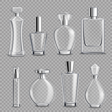 Perfume glass bottles various shapes and caps clear colorless realistic set on transparent background isolated vector illustration Illustration