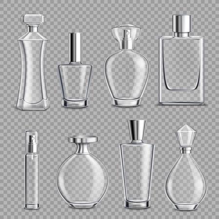 Verschillende vormen en doppen van het parfumglas flessen kleurloze realistische set op transparante achtergrond geïsoleerde vectorillustratie Stockfoto - 96311757
