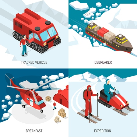 Polar station 4 isometric icons concept with tracked vehicle snowmobiles skier and icebreaker expedition isolated vector illustration
