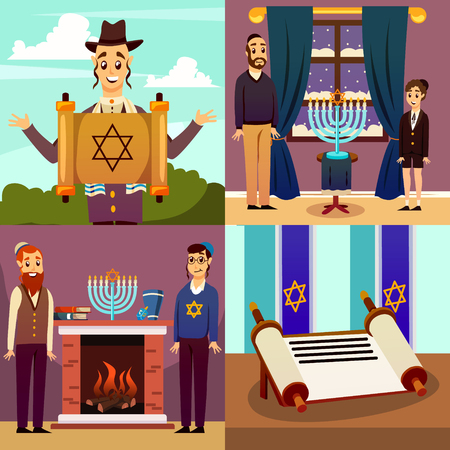 Cartoon jews characters 2x2 design concept collection of flat images with human characters and spiritual items vector illustration