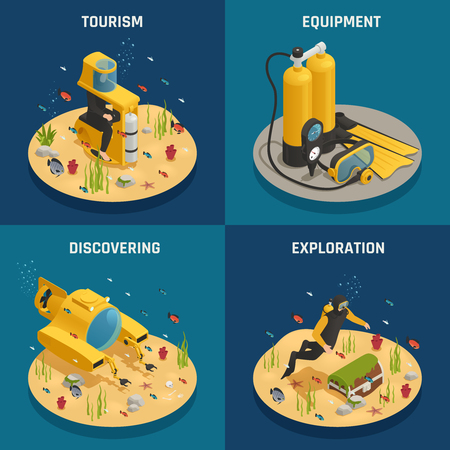 Underwater tourism experience discoveries and professional scuba diving equipment 4 isometric icons concept square isolated vector illustration Standard-Bild - 96375633