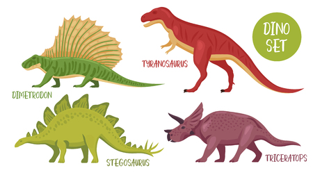 Dino set of isolated colourful dinosaur images with various species from different historical periods with captions vector illustration. Banco de Imagens - 96390588