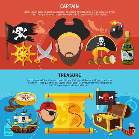Horizontal cartoon banners with pirate treasure, bearded captain with accessories, isolated on red blue background vector illustration