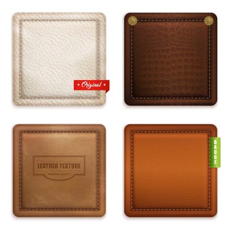 Genuine leather quality texture and color concept 4 realistic square badges pockets samples set isolated vector illustration Vectores