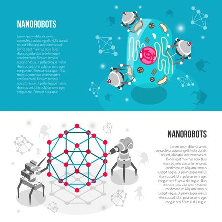 Set of horizontal isometric banners with nano robots, lattice, cell isolated on white turquoise background vector illustration  Illustration