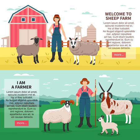 Sheep breeding farm 2 flat horizontal banners webpage with ram ewes farmers introduction text isolated vector illustration  Vettoriali