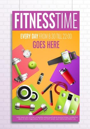 Fitness time poster vector illustration Illustration
