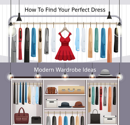 Modern wardrobe organization 2 realistic horizontal banners with dresses hanging rail and adjustable shelves isolated vector illustration