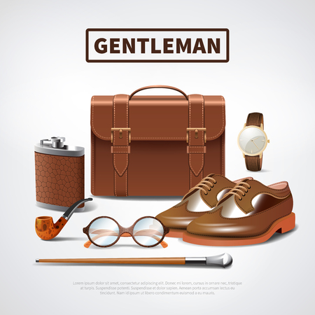 Classic retro gentleman accessories realistic composition with leather shoes briefcase glasses watch pipe walking stick vector illustration Illustration