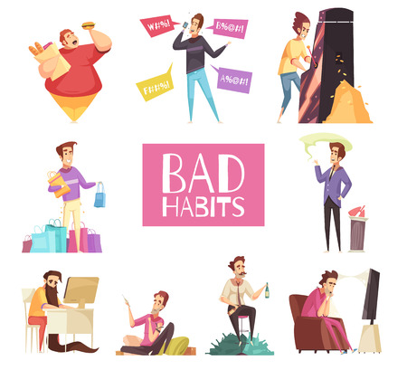 Bad habits set of alcoholism drug addiction smoking dependence of computer and video games shopping gluttony with obesity cartoon symbols vector illustration Stock Illustratie