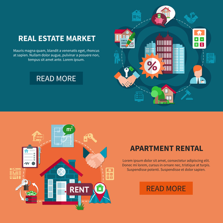 Two real estate banner set with apartment rental and real estate market headlines vector illustration