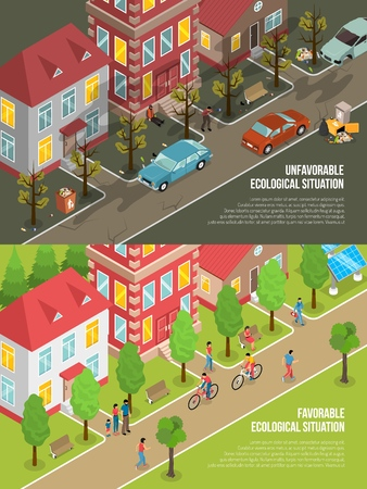 Environmental situation isometric scenes with eco friendly city and polluted town with dry trees isolated vector illustration Illustration