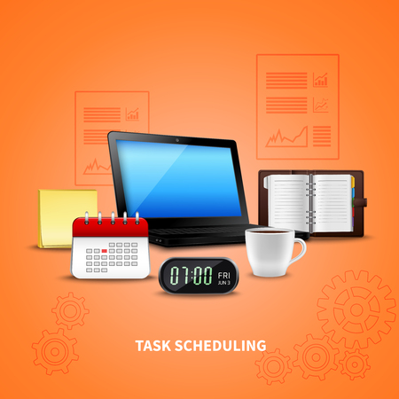 Orange time management realistic with task scheduling headline and attributes of work vector illustration