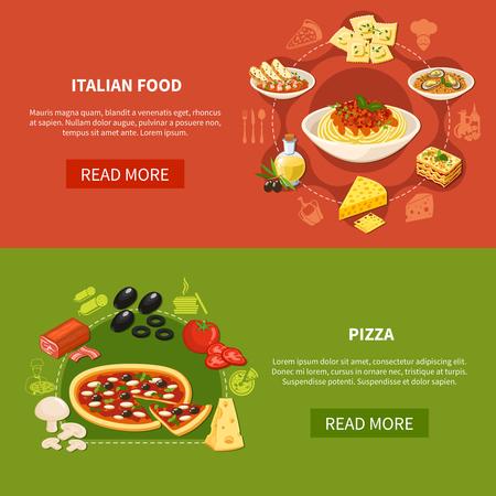 伝統的な料理とピザの準備フラットベクターイラストのための食材のセットとイタリア料理の水平バナー