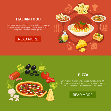 Italian cuisine horizontal banners with set of traditional dishes and ingredients for pizza preparation flat vector illustration 写真素材 - 96404827