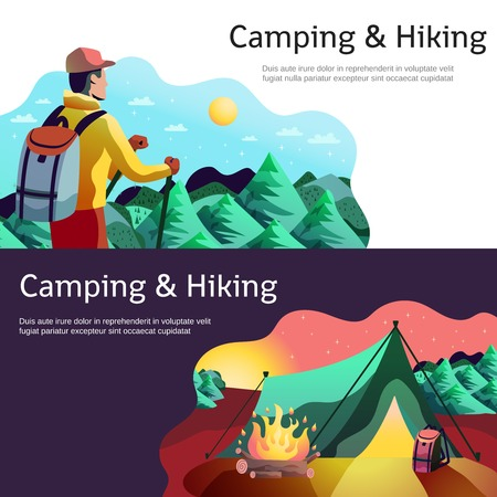 Hiking camping horizontal abstract colorful banners set with tourist in forest tent open fire isolated vector illustration