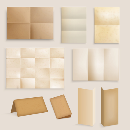 Vintage folded paper realistic set with isolated images of rubbed brown and yellow paper with unfolded sections vector illustration
