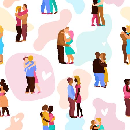 De liefde koestert naadloos patroon met personen tijdens omhelst op witte achtergrond met de vectorillustratie van pastelkleurvlekken Vector Illustratie
