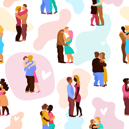 Love hugs seamless pattern with persons during embraces on white background with pastel stains vector illustration Illustration