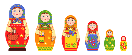 Matryoshka zagorje family set of flat isolated stacking russian doll images of different size and colour pattern vector illustration Illustration