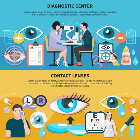 Ophthalmologist diagnostic center with optometrist examining patient eyes and contact lenses use care horizontal banners vector illustration Ilustração