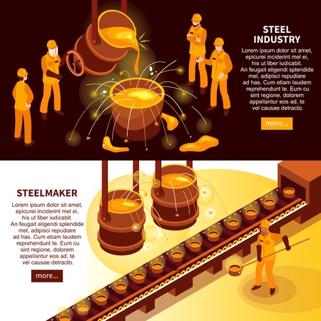 Metallurgy industry isometric banners with steel makers in foundry and cast iron molds conveyor vector illustration Vettoriali