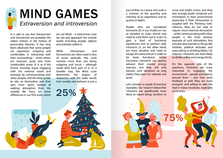 Mind games extraversion and introversion infographics, book pages with behavior of persons during leisure vector illustration Illustration