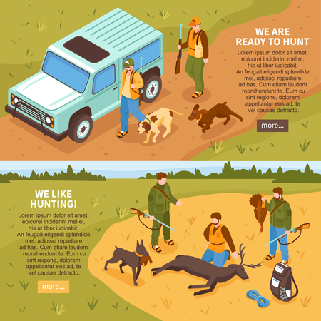 Shooting season isometric horizontal banners webpage design for hunters with game animals information isolated vector illustration Illustration