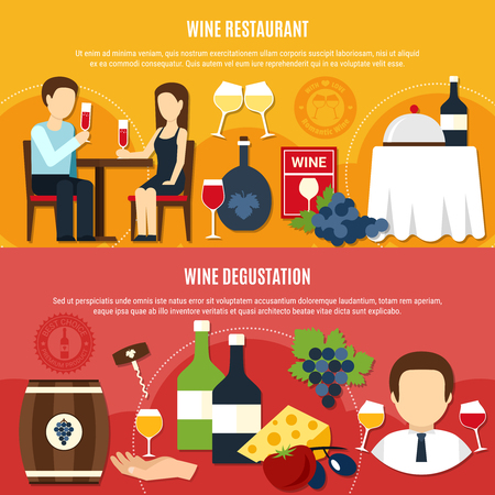 Horizontal flat banners set with couple tasting wine at restaurant on colorful background isolated vector illustration.