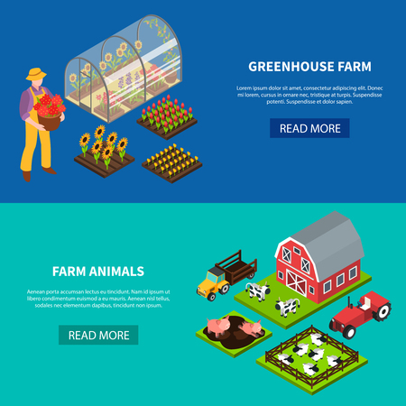 Isomeric set of two horizontal banners with greenhouse and various domestic animals grazing on farm 3d isolated vector illustration 일러스트
