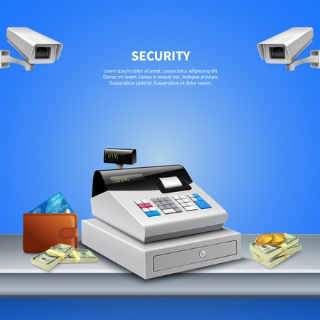 Secured cash register vector illustration
