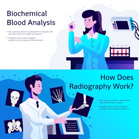 Medical care 2 horizontal banners with biochemical blood test and radiographer with x-ray pictures vector illustration