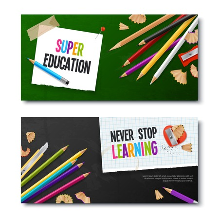 Two education realistic banners with colored pencils and notebook sheet with never stop learning text vector illustration