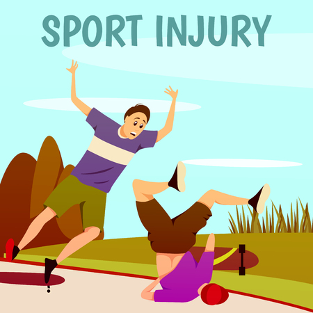 Sport injury flat colorful background with composition of two traumatised skateboarders with text and outdoor scenery vector illustration