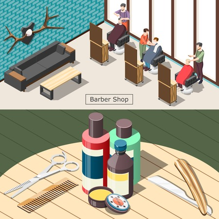 Barbershop set of horizontal isometric banners with male hair salon, professional tools and cosmetics isolated vector illustration