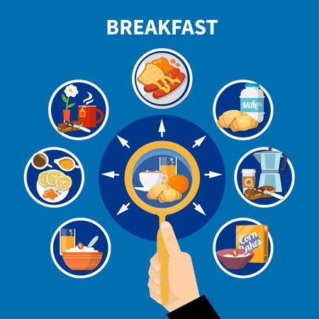 Flat design colorful concept with variants of traditional breakfast isolated on blue background vector illustration