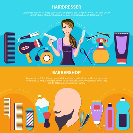 Two flat horizontal and colored hairdresser colored banner set hairdresser and barbershop headlines vector illustration