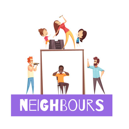 Neighbors design concept with angry man  exasperated at his neighbor with drill cartoon vector illustration
