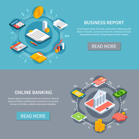 Set of two accounting isometric horizontal banners with read more button editable text and conceptual images vector illustration Illustration