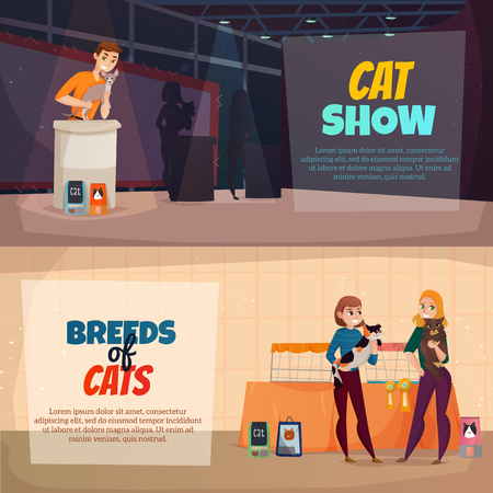 A Cat breeds show announcement schedule and presentations 2 horizontal banners with pets food advertisement isolated vector illustration