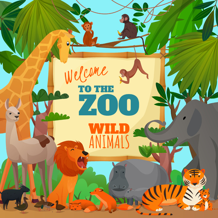 Welcome to zoo cartoon poster with lion elephant giraffe tiger hippopotamus antelope monkeys vector illustration Иллюстрация