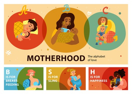 Motherhood set of horizontal banners including women with babies during feeding, sleeping, playing isolated vector illustration