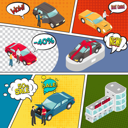 Comic book page with cars sale, bubbles with expression of emotions on colorful divided background vector illustration